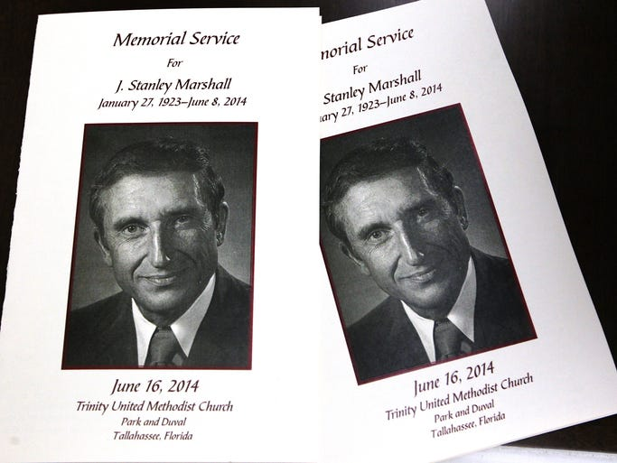 Trinity United Methodist Church in Tallahassee, FL. hosted  a memorial service for J. Stanley Marshall on Monday morning June 16, 2014.