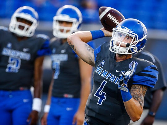 University of Memphis quarterback Riley Ferguson during warm up before taking on Southern Illinois University  at the Liberty Bowl Memorial Stadium Saturday, September 23, 2017.