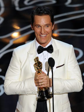 Matthew McConaughey accepts the Best Performance by an Actor in a Leading Role award for 'Dallas Buyers Club' onstage during the 2014 Oscars.