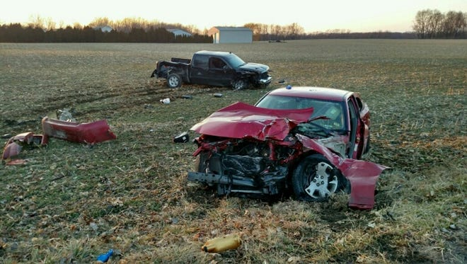 A passenger in the red car was seriously injured in this crash Monday and airlifted to an Indianapolis hospital.