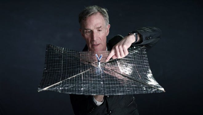 Bill Nye, who is also the CEO of The Planetary Society, demonstrates how a kite-like solar sail can travel through the universe using light as fuel.