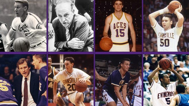 Top (left to right): Hugh Ahlering, Arad McCutchan, Brad Leaf, Marty Simmons. Bottom (left to right): Jim Crews, Scott Shreffler, Andy Elkins, Marcus Wilson. All eight former University of Evansville players and coaches will have their jerseys retired Saturday at Ford Center.