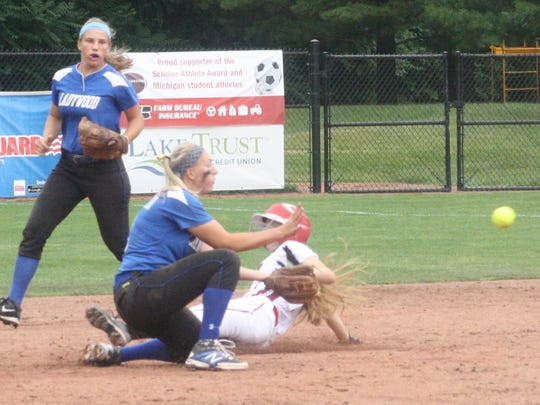 Ladywood shortstop Lauren Holdsworth waits for a throw