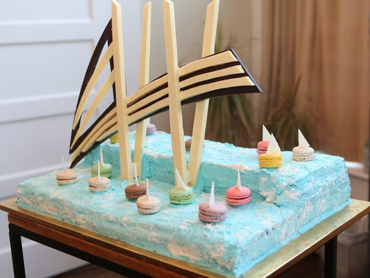 Didier Dumas, of Nyack's Patisserie Didier Dumas, created a bridge-inspired dessert for the Lohud and The Journal News host Bridging Art art salon, inspired by the Tappan Zee Bridge and its replacement to benefit Volunteer New York! held at Union Arts Center in Sparkill on Tuesday, Sept. 26, 2017.