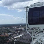 The Ferris wheel known as the Orlando Eye is stopped Friday, July 3, 2015, in Orlando, Fla.