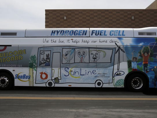 One of SunLine's five existing hydrogen fuel cell buses,