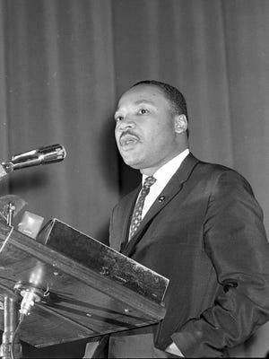 Martin Luther King Jr. speaks at the Milwaukee Auditorium (now Milwaukee Theatre) on Jan. 27, 1964.