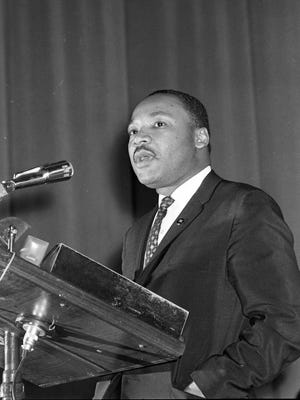 Martin Luther King Jr. speaks at a freedom rally at the Milwaukee Auditorium on Jan. 27, 1964. Journal Sentinel files