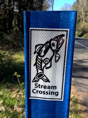 """The county has put up these """"Stream Crossing"""" signs"""