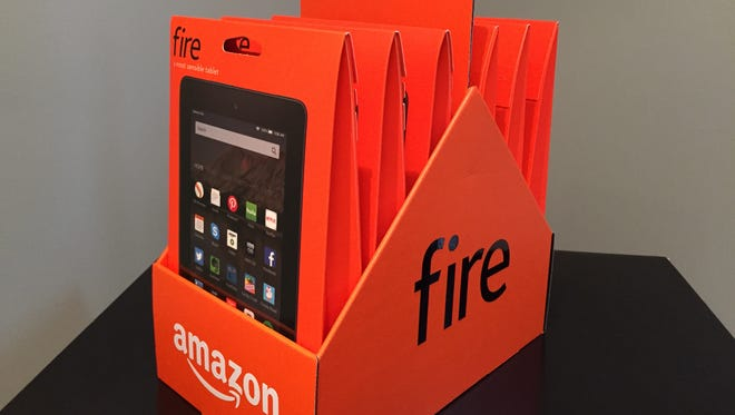 """A """"six pack"""" of Amazon Fire 7"""" tablets. Available for pre-order beginning Sept. 17, 2015, they will retail for $49.99 each, or $249.95 for a package of six."""