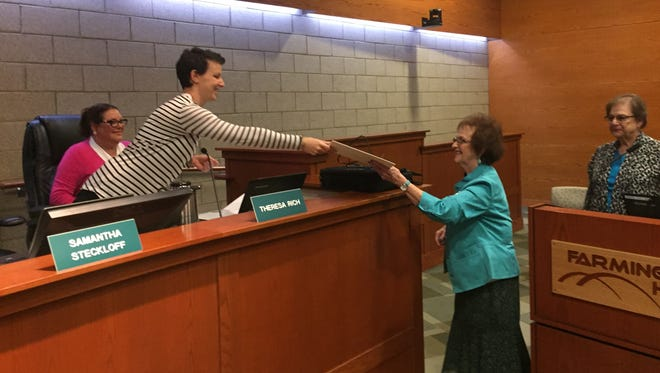 Farmington Hills City Council member Samantha Steckloff (left), here presenting a proclamation to ovarian cancer survivor Elaine Greenberg at an earlier meeting, has been chosen the new Mayor Pro-Tem.