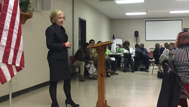 Kathleen Airhart, the interim superintendent of the state-run Achievement School District, speaks during a Frayser Exchange community meeting on Thursday.