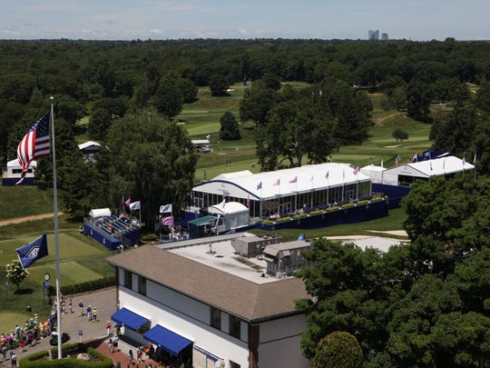 The ultimate view of Westchester Country Club's West Course is from the private 8th-floor terrace, with spectacular views of Manhattan, Long Island Sound, the Ritz-Carlton Westchester and, this week, the top women in golf.