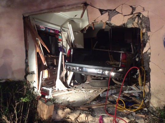 A truck crashed into a two-story apartment building in Oxnard on Monday.