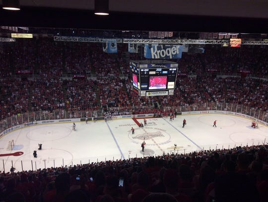 The scene at Joe Louis Arena at the end of the final