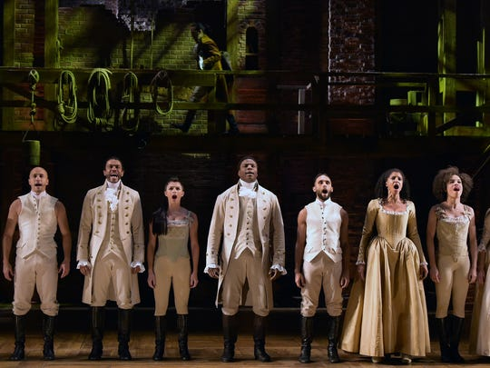 "The cast of ""Hamilton"" performs at the 58th Grammy"