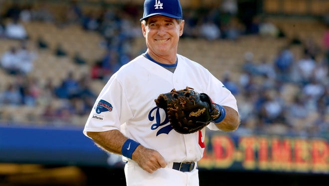 LOS ANGELES, CA - JUNE 08:  Former Los Angeles Dodgers first baseman Steve Garvey takes the field against the New York Yankees for an Old Timers game before the game betweenthe Atlanta Braves and the Los Angeles Dodgers at Dodger Stadium on June 8, 2013 in Los Angeles, California.  (Photo by Stephen Dunn/Getty Images)