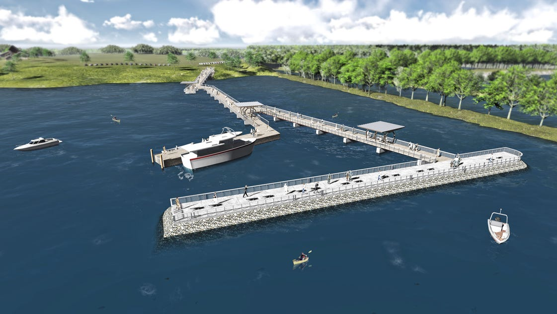 Huge fishing pier outdoor center set for detroit river for Detroit river fishing