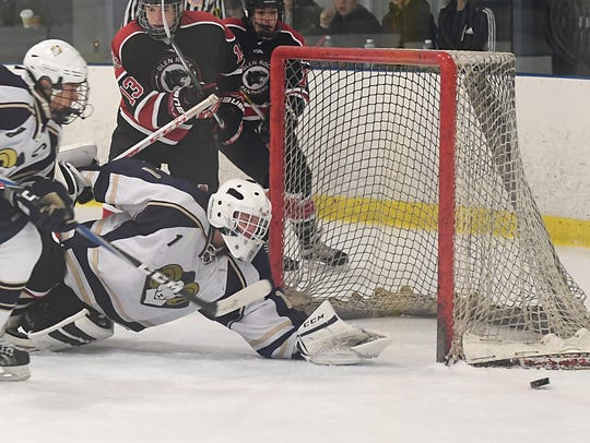 Ramsey senior Jon Kopack, shown in a 2016 file photo, is the All-Big North Liberty Stars first team goaltender for 2017-18.