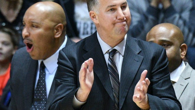 Purdue head coach Matt Painter like what he sees as CSU calls a timeout as Purdue defeats Cleveland State University, 77-53, in West Lafayette on Saturday December 10, 2016.