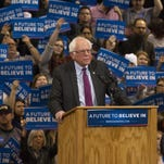 Democratic presidential candidate Sen. Bernie Sanders speaks at a campaign rally in Boise, Idaho on Monday.