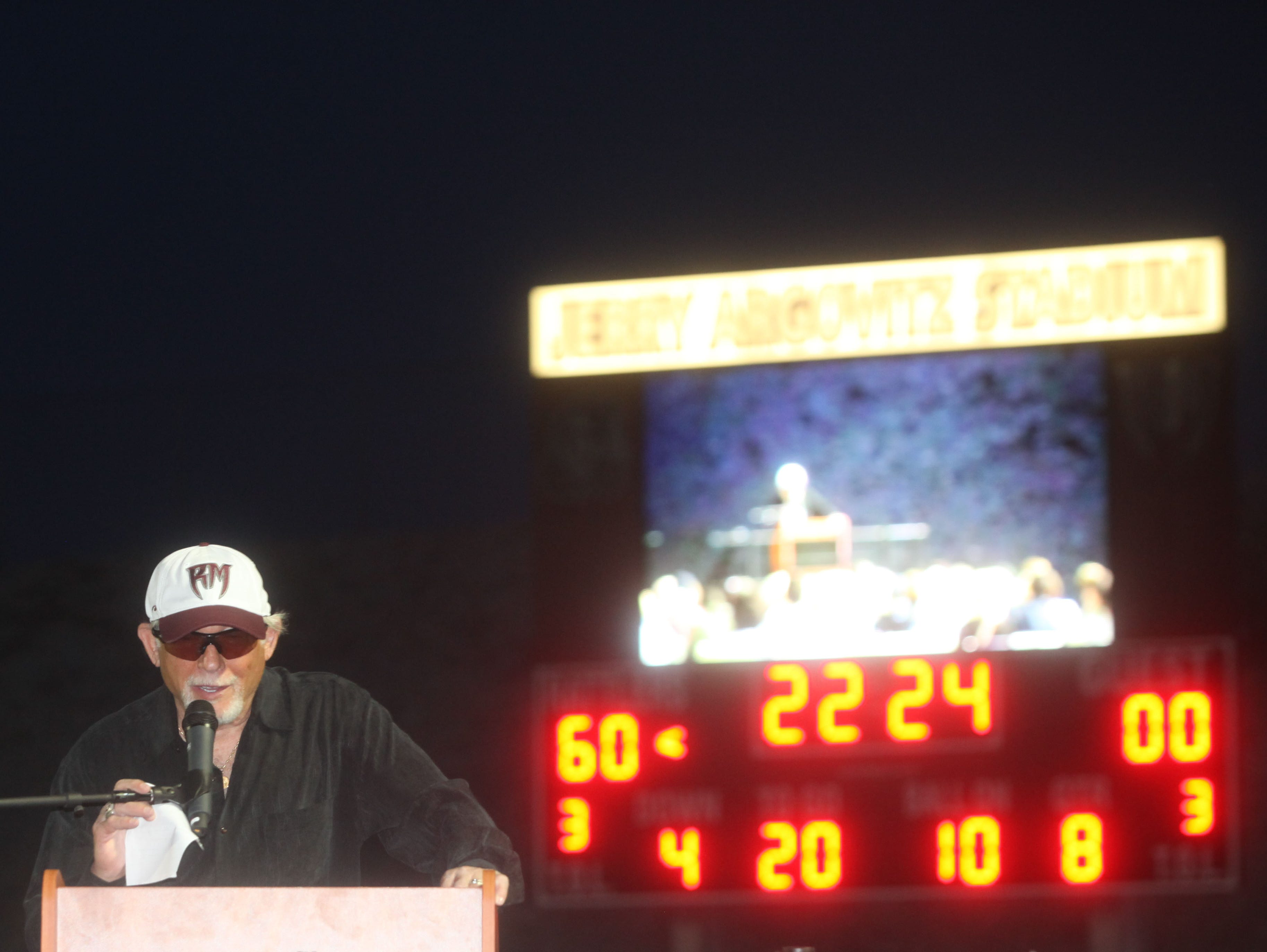 Jerry Argovitz speaks during the presentation of the a jumbotron at Jerry Argovitz Stadium at Ranch Mirage High School.