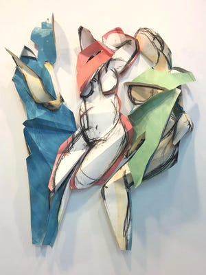 Heidi Lanino's Folded Females, from her solo show at the Mindy Ross Gallery, SUNY Orange, Newburgh.