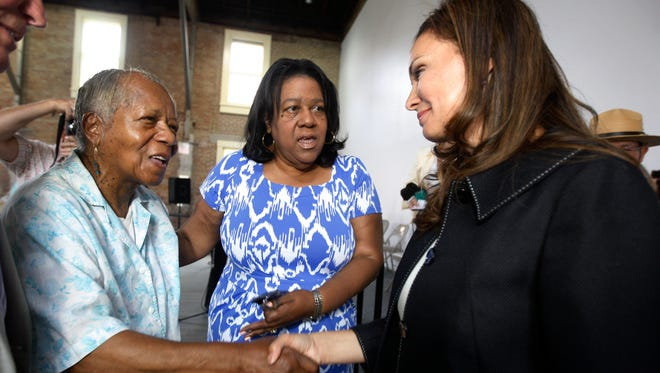US Treasurer Rosa Rios smiles as she's introduced to Harriet Tubman's great great grand niece, Pauline Copes-Johnson of Auburn.  After the introduction, made by Karen Hill, president and CEO of the Harriet Tubman Home, Rios gave her a hug in honor of meeting her.