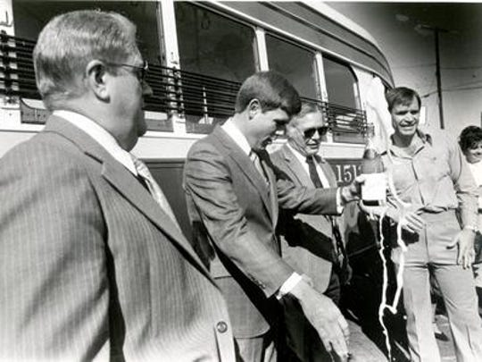 In this photo from November 1979, then-Mayor Tom Westfall, left, and former Mayor Ray Salazar, third from left, help inaugurate the El Paso streetcars.