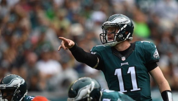 Eagles quarterback Carson Wentz, shown against Cleveland on Sept. 11, has led the Eagles to a 3-2 record in his rookie season.
