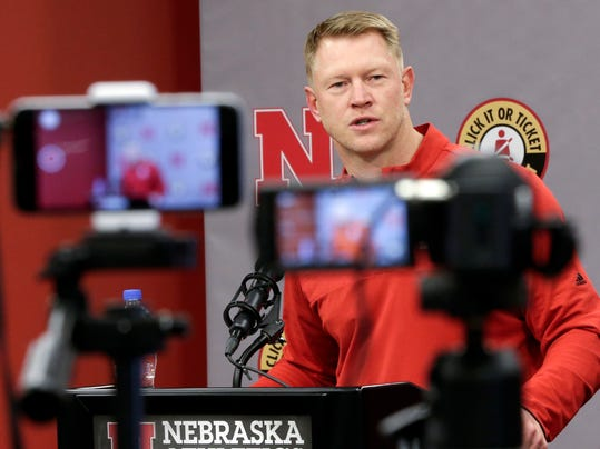Nebraska coach Scott Frost answers a question during an NCAA college football signing day news conference in Lincoln, Neb., Wednesday, Feb. 7, 2018. (AP Photo/Nati Harnik)