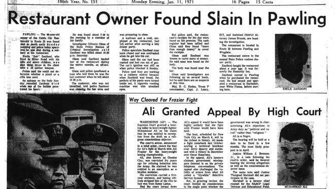 Emile Zaniboni's death was front page news on Jan. 11, 1971, a day after his body was found inside the Cattle Car Restaurant in Pawling.