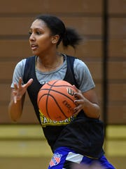 Reed's Serene Townsell - Williams dribbles the ball during practice at the Reed gym on Jan. 2, 2017.