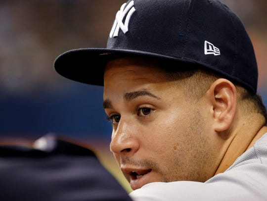 Yankees catcher Gary Sanchez looks on against the Tampa
