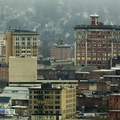 Morning fog hangs over downtown Binghamton.