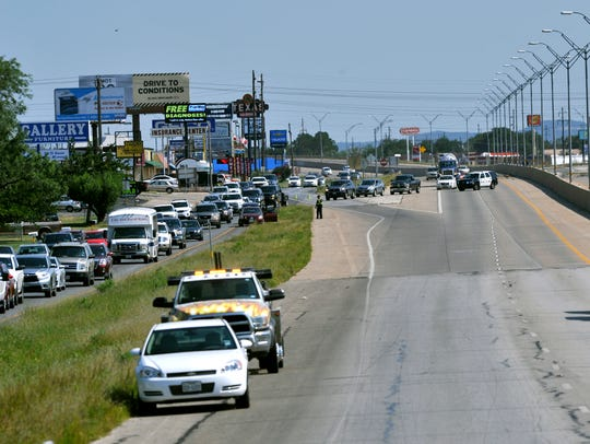 Traffic is routed onto S. Danville Street Friday June