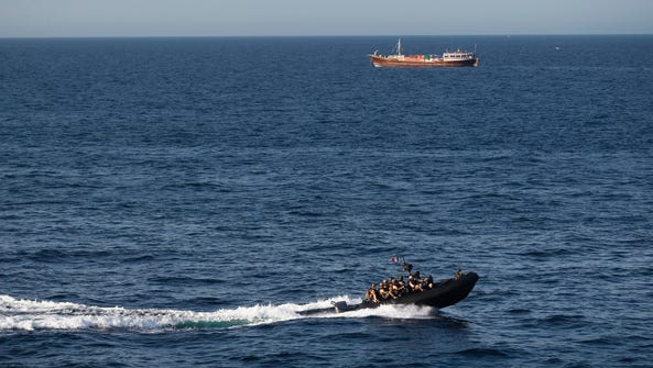 French special forces on patrol against pirates near