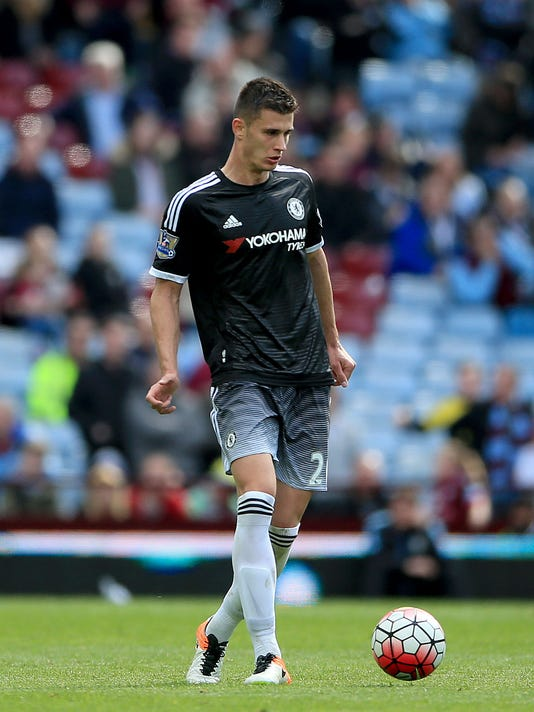 Chelsea's Matt Miazga plays the ball forward during their English Premier League soccer match against Aston Villa at Villa Park, Birmingham, England, Saturday, April 2, 2016. American defender Matt Miazga made a successful Chelsea debut as the team routed Aston Villa 4-0 in the English Premier League. The New Jersey-born center-back, signed by Chelsea from New York Red Bulls for $5 million in January 2016, had an impressive start to his Premier League career as the 20-year-old helped his squad keep a clean sheet Saturday. (Nick Potts/PA via AP)    UNITED KINGDOM OUT      -    NO SALES      -    NO ARCHIVES