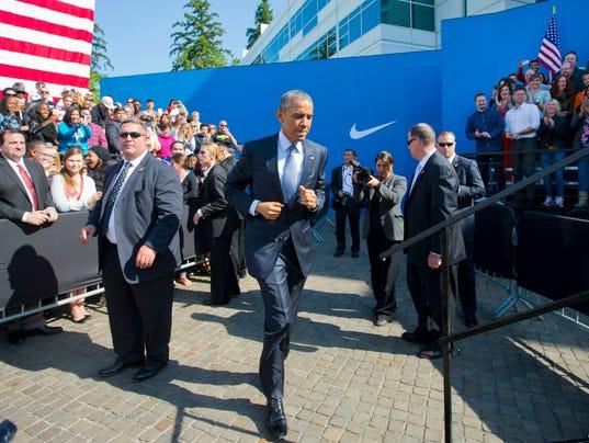 Obama At Nike Hq Makes Progressive Case For Trade