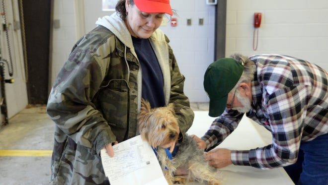 Andrea Cappellucci holds her dog Theo as it receives a rabies shot from veterinarian Bob Stevens during a rabies clinic offered by the Vineland Health Department.