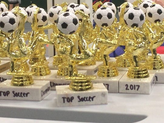 The trophies that each of the athlete participants received at the end of a four-week TOPSoccer program administered by the D.C. Everest girls soccer team this winter