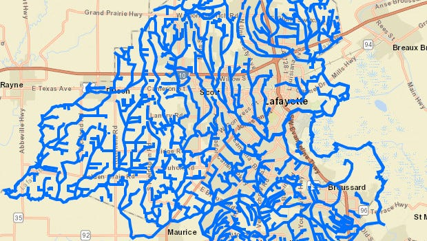 More than 600 miles of coulees and drainage channels slice through Lafayette Parish.