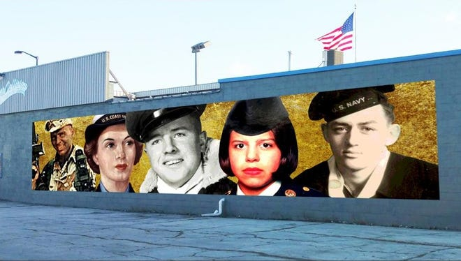 This illustration depicts concept art overlaid on the wall which will soon hold a mural recognizing five Fond du Lac residents who served in the five branches of the military.