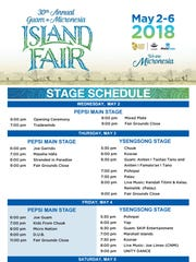 Pepsi Main Stage and Ysensong Stage schedules. The Guam Visitors Bureau invites the public to experience years of cultural unity and festivities at the 30th annual Guam Micronesia Island Fair happening May 2 to May 6.