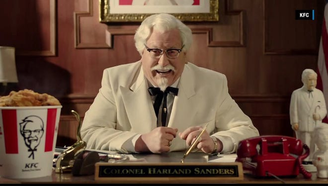 This is a frame grab of actor Darrell Hammond as KFC's new incarnation of Colonel Sanders.