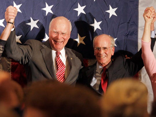 Rep. Peter Welch, D-Vt., right, celebrates his victory