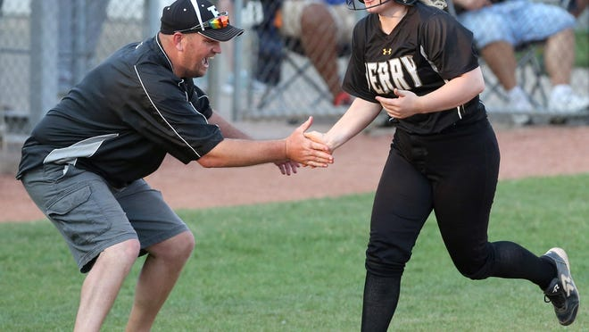 Perry' head coach Scott Daugherty — congratulating Gia Durieux as she rounds third base after a solo home run during their 2018 12-3 win over Teays Valley in a Division I state semifinal at Firestone Stadium — has the Panthers headed back to the state tournament in Akron.