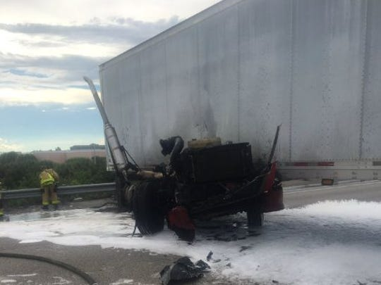 A vehicle crash closed southbound Interstate 95 on Thursday in Viera.