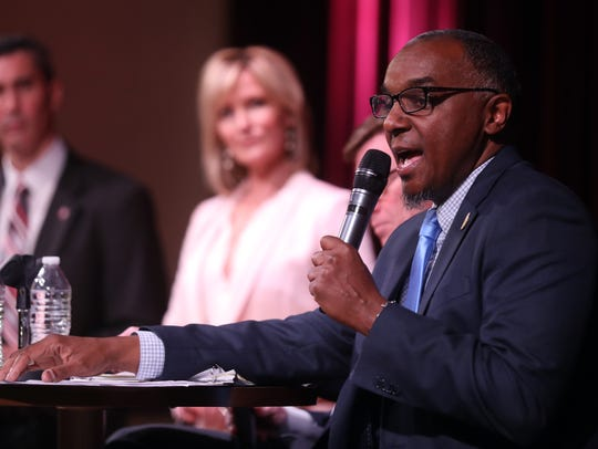 jeff obafemi carr with NoTax4Tracks participates in The Tennessean's transit debate held Tuesday April 10, 2018 at the Nashville Public Library.