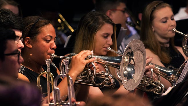 """The Jackson Liberty High School marching band is performing at the National Memorial Day Parade in Washington, one of only four schools from New Jersey. On Fri. the school hosted a big """"send-off"""" for the band in the auditorium, and the were awarded several commendations."""